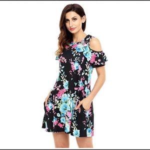 NWOT XL Cold Shoulder Black & Floral Mini Dress